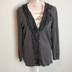 J. Crew whirling ruffles gray black cardigan large